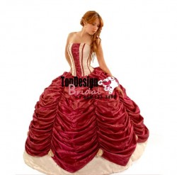 New ivory and burgundy pick up taffeta corset puffy 2017 brand new quinceanera dress