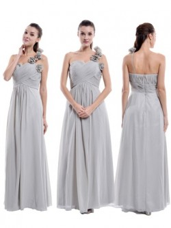 One Shoulder Chiffon Floor-length Flower(s) Women Bridesmaid Dress in UK