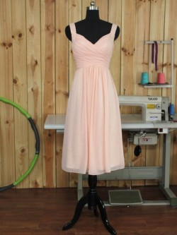 Pink V-neck Chiffon Online Tea-length Ruffles Bridesmaid Dress in UK
