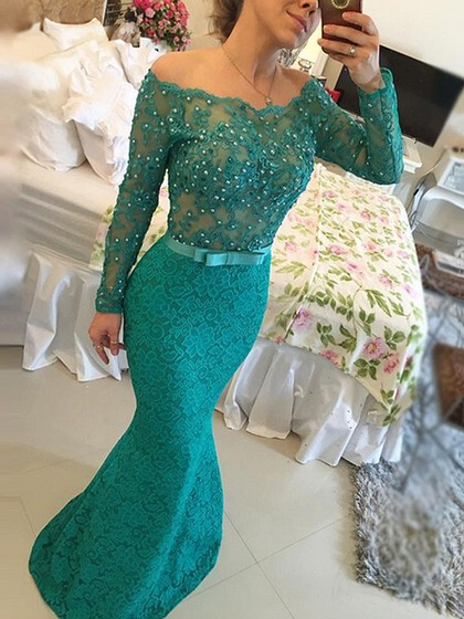 Trumpet/Mermaid Lace Tulle Floor-length Newest Long Sleeve Off-the-shoulder Prom Dresses in UK