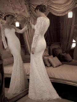 Trumpet/Mermaid Scoop Neck Lace Sweep Train Ruffles Wedding Dresses in UK