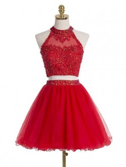 Two Piece A-line Tulle Short/Mini Beading Boutique High Neck Prom Dresses in UK