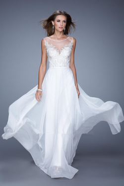 US$150.99 2015 Sleeveless Ruched Floor Length Scoop White Appliques Chiffon