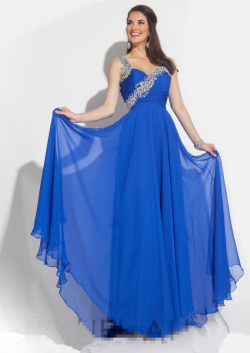 US$162.99 2015 Straps Zipper Crystals Blue Red Chiffon Ruched Floor Length