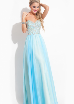 US$155.99 2015 Zipper Sweetheart Chiffon Blue Appliques Floor Length