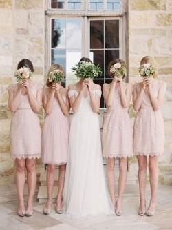V-neck Elegant Lace Sashes / Ribbons Short/Mini Sheath/Column Bridesmaid Dresses in UK
