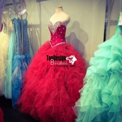 Wholesale 2017 Sweet 15 Dress New Red Real Fashion Beading Ruffles Organza Ball Gown Prom Quince ...