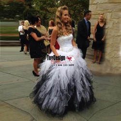 Wholesale 2017 Sweet 15 Dress New Style White/Black Organza Quinceanera Dresses Ball Gown Sweeth ...