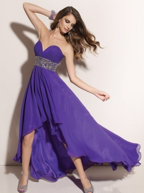 Chic A-line Sweetheart Chiffon Asymmetrical Dress with Ruffles