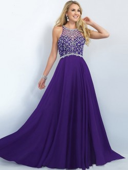Grape Sweep Train Chiffon Beading Zipper at Side Scoop Neck Perfect Prom Dress in UK
