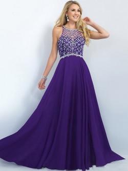 Grape Sweep Train Chiffon Beading Zipper at Side Scoop Neck Perfect Prom Dress in UK