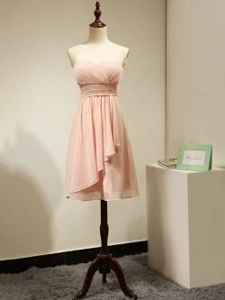 Sweetheart Chiffon Short/Mini Ruched Juniors Pink Bridesmaid Dress in UK