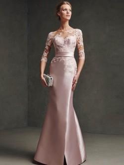 A-Line/Princess Bateau 1/2 Sleeves Sash/Ribbon/Belt Satin Floor-Length Dresses – Prom Dresses
