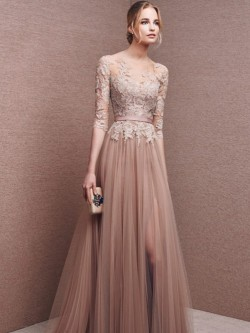A-Line/Princess Scoop 1/2 Sleeves Lace Floor-Length Tulle Dresses – Formal Dresses Christc ...