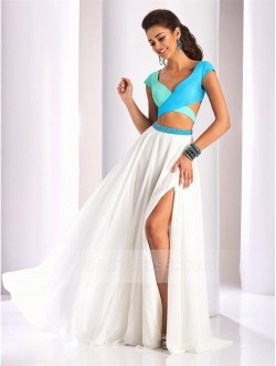 A-line Cap Sleeve V-neck Slit Front Chiffon Two Pieces Prom Dress with Beaded Waist – QQdr ...
