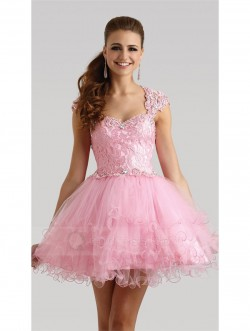 Sweetheart Neck Open Back Beaded Lace Bodice Layered Tulle Skirt Short Prom Gown