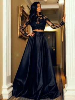 Shop A-line Scoop Neck Black Satin Tulle Appliques Lace Floor-length Long Sleeve Two Piece New B ...