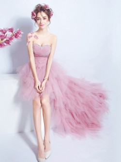 Shop A-line Sweetheart Tulle with Beading Asymmetrical Stunning High Low Ball Dresses in New Zealand