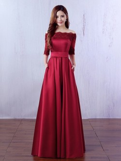 Shop Burgundy Off-the-shoulder A-line Satin Floor-length Appliques Lace 1/2 Sleeve Ball Dresses  ...