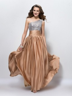 Shop Chiffon Sequined One Shoulder Floor-length A-line with Beading Ball Dresses in New Zealand