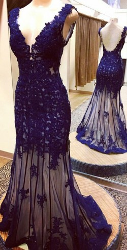 Shop Custom Trumpet/Mermaid V-neck Tulle Appliques Lace Sweep Train Backless Ball Dresses in New ...