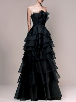 Shop Exclusive A-line Strapless Black Tulle Sashes / Ribbons Floor-length Ball Dresses in New Ze ...