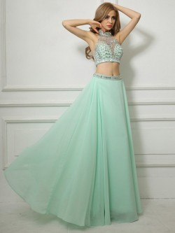 Shop High Neck Backless Chiffon Tulle Floor-length Beading Two Pieces Ball Dresses in New Zealand