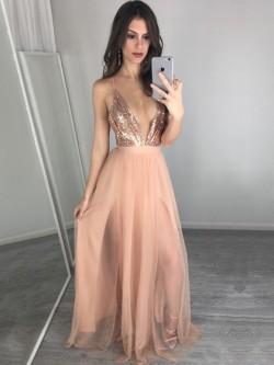 Shop Hot A-line V-neck Tulle Split Front Floor-length Backless Ball Dresses in New Zealand