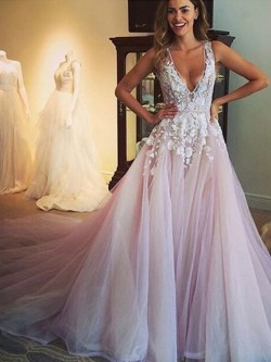 Shop Princess V-neck Tulle with Appliques Lace Court Train Open Back Amazing Ball Dresses in New ...