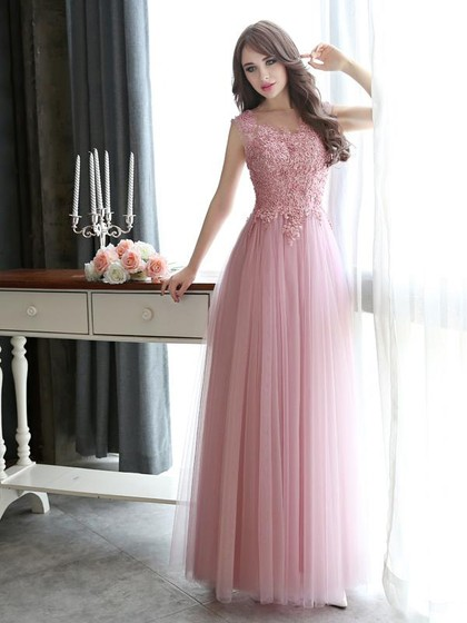 Shop Scoop Neck Floor-length Pink Tulle Appliques Lace Online Ball Dresses in New Zealand