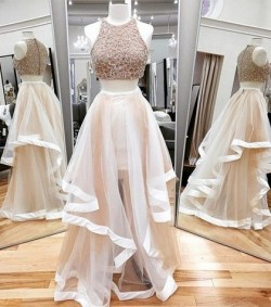 Shop Two Piece A-line Scoop Neck Tulle Beading Floor-length 2016 Ball Dresses in New Zealand