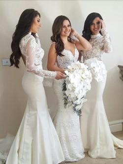 2 Teilige Weiß Brautjungfernkleider Lang Ärmel Meerjungfrau Kleider für Brautjungfern Günstig