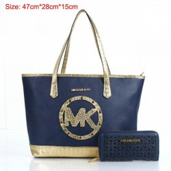 Cheap Michael Kors Two-Pieces Gia Novelty Crocodile Textured Tote Navy Blue