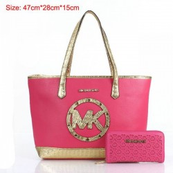 Cheap Michael Kors Two-Pieces Gia Novelty Crocodile Textured Tote Rose