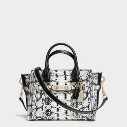 Coach Swagger Carryall 20 In Colorblock Exotic Embossed Leather Black