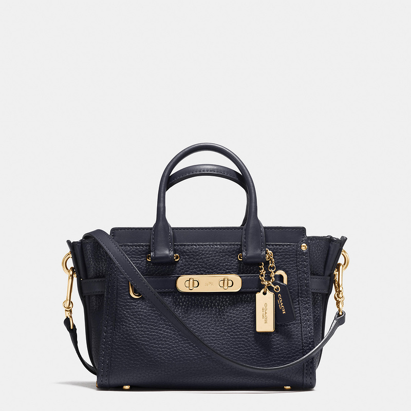 Coach Swagger Carryall 20 In Pebble Leather Navy Blue