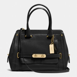 Coach Swagger Frame Satchel In Calf Leather Black