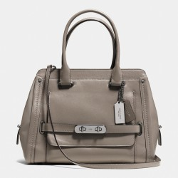 Coach Swagger Frame Satchel In Calf Leather Grey