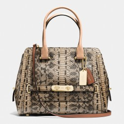 Coach Swagger Frame Satchel In Colorblock Exotic Brown