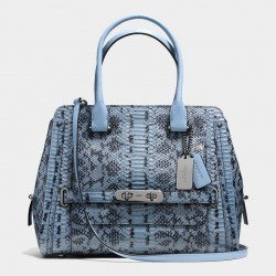 Coach Swagger Frame Satchel In Colorblock Exotic Sky Blue