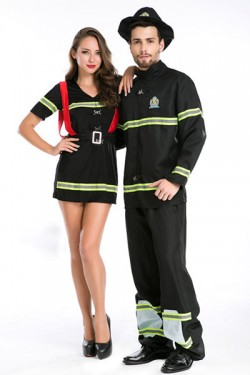 Halloween Pealuk Firefighter Masquerade Cosplay Costume Halloween Police Couple Disguise Costume