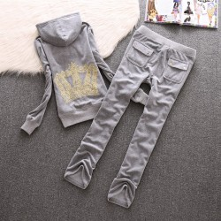 Juicy Couture Crown Velour Tracksuit 610 2pcs Women Suits Grey