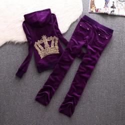 Juicy Couture Crown Velour Tracksuit 610 2pcs Women Suits Purple