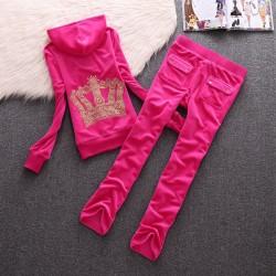Juicy Couture Crown Velour Tracksuit 610 2pcs Women Suits Rose