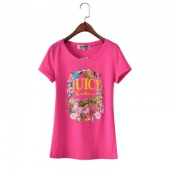 Juicy Couture Floral Tiger Graphic Tee T011 Women T-Shirt Rose