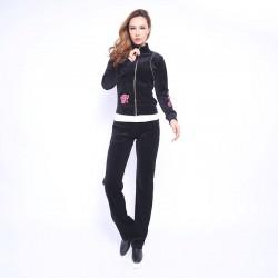 Juicy Couture FW2017 Velour Tracksuit 2pcs Rose Embroidery Women Suits Black