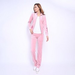 Juicy Couture FW2017 Velour Tracksuit 2pcs Rose Embroidery Women Suits Cherry