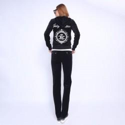 Juicy Couture FW2017 Velour Tracksuit 2pcs Studded Juicy Logo Crown Women Suits Black