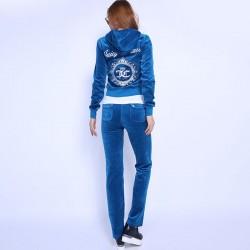 Juicy Couture FW2017 Velour Tracksuit 2pcs Studded Juicy Logo Crown Women Suits Blue