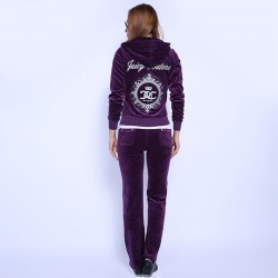 Juicy Couture FW2017 Velour Tracksuit 2pcs Studded Juicy Logo Crown Women Suits Purple